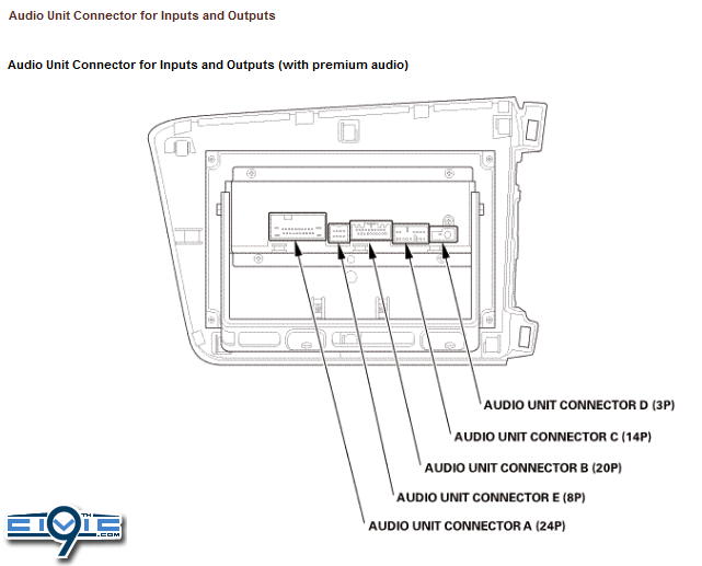 ba9g0 2012 civic audio wiring guide & pinouts for factory radio 9th 2012 honda civic stereo wiring diagram at gsmx.co