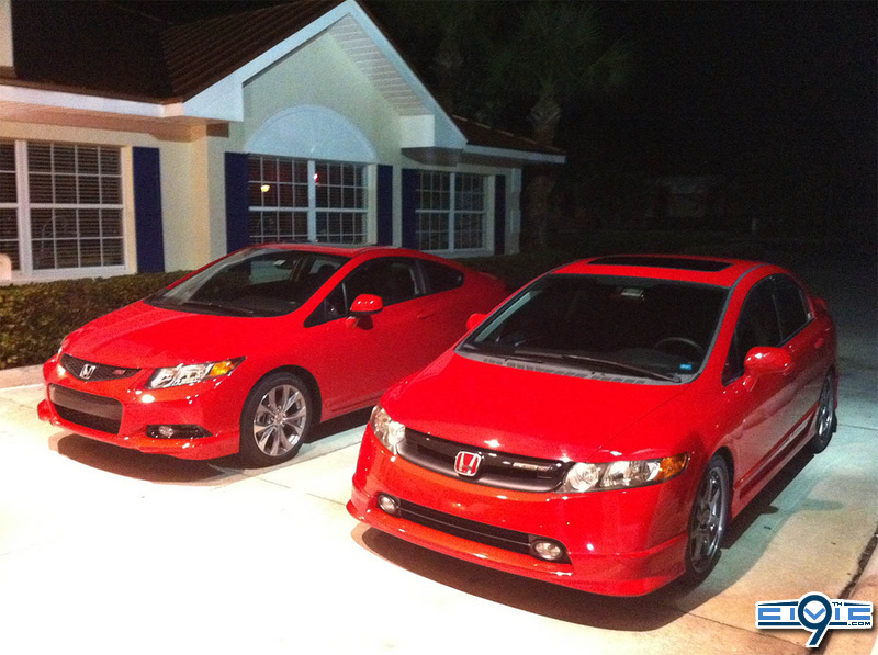 2012 civic si next to 8th gen civic 9th generation honda civic forum. Black Bedroom Furniture Sets. Home Design Ideas